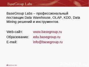 BaseGroup Labs – профессиональный поставщик Data Warehouse, OLAP, KDD, Data Mini