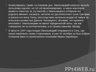Возмутившись таким состоянием дел, Хмельницкий написал жалобу польскому королю,
