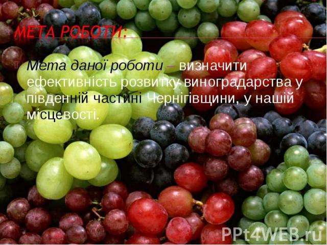 Мета даної роботи – визначити ефективність розвитку виноградарства у південній частині Чернігівщини, у нашій місцевості. Мета даної роботи – визначити ефективність розвитку виноградарства у південній частині Чернігівщини, у нашій місцевості.
