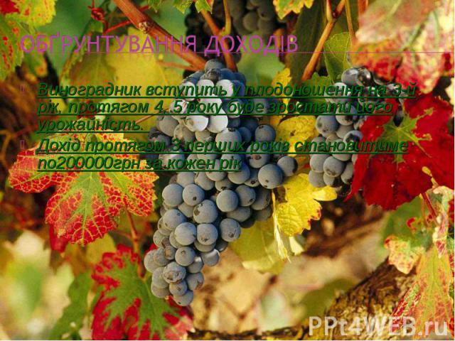 Виноградник вступить у плодоношення на 3-й рік, протягом 4, 5 року буде зростати його урожайність. Виноградник вступить у плодоношення на 3-й рік, протягом 4, 5 року буде зростати його урожайність. Дохід протягом 3 перших років становитиме по200000г…
