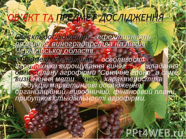 Об'єкт дослідження – ефективність розвитку виноградарства на півдні Чернігівської області.Об'єкт дослідження – ефективність розвитку виноградарства на півдні Чернігівської області. Предмет дослідження – особливості агротехніки вирощування винограду …
