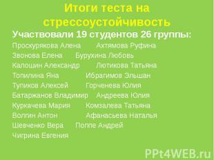 Итоги теста на стрессоустойчивостьУчаствовали 19 студентов 26 группы:Проскуряков