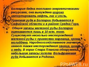Болгария бедна топливно-энергетическими ресурсами, она вынуждена широко импортир