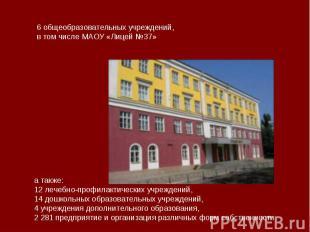 6 общеобразовательных учреждений,в том числе МАОУ «Лицей №37» а также:12 лечебно