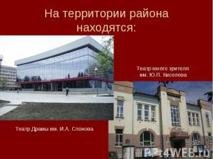 На территории района находятся: Театр юного зрителя им. Ю.П. Киселева Театр Драм