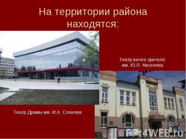 На территории района находятся: Театр юного зрителя им. Ю.П. Киселева Театр Драмы им. И.А. Слонова