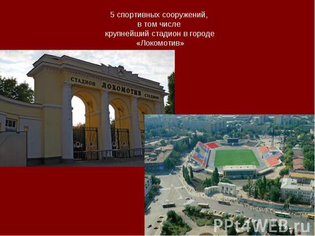 5 спортивных сооружений, в том числе крупнейший стадион в городе«Локомотив»