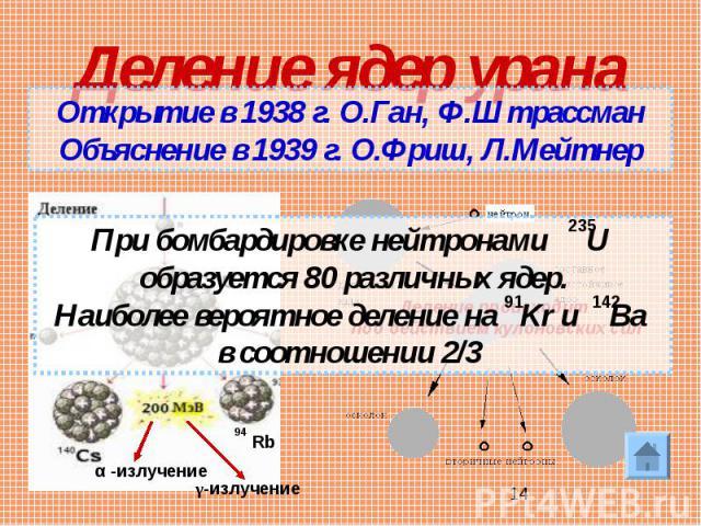 Деление ядер урана Открытие в 1938 г. О.Ган, Ф.ШтрассманОбъяснение в 1939 г. О.Фриш, Л.Мейтнер При бомбардировке нейтронами U образуется 80 различных ядер.Наиболее вероятное деление на Kr и Ba в соотношении 2/3