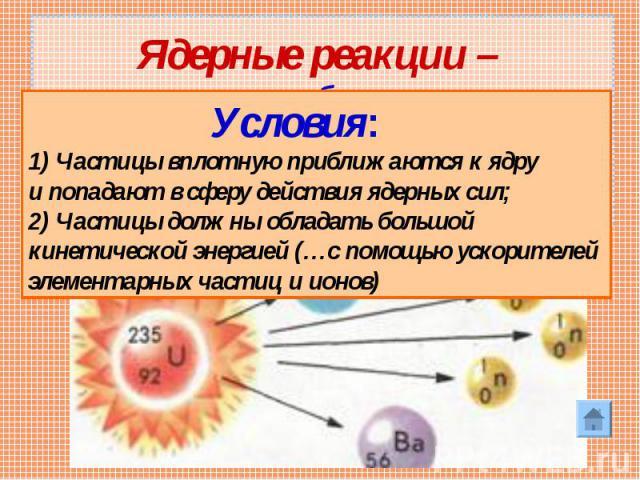 Ядерные реакции – искусственные преобразования атомных ядер при взаимодействии их с элементарными частицами или друг с другом Условия:1) Частицы вплотную приближаются к ядру и попадают в сферу действия ядерных сил;2) Частицы должны обладать большой …