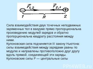 Сила взаимодействия двух точечных неподвижных заряженных тел в вакууме прямо про