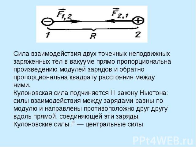 Сила взаимодействия двух точечных неподвижных заряженных тел в вакууме прямо пропорциональна произведению модулей зарядов и обратно пропорциональна квадрату расстояния между ними. Кулоновская сила подчиняется III закону Ньютона: силы взаимодействия …