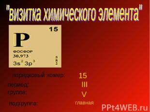 """""""визитка химического элемента"""" порядковый номер: период: группа: подгруппа:"""