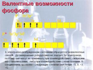 Валентные возможности фосфора В электронно-возбужденном состоянии образуется 5ко