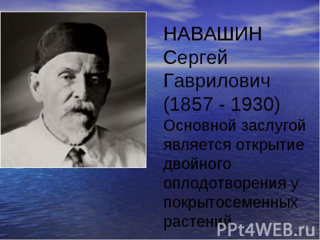 НАВАШИН Сергей Гаврилович (1857 - 1930)Основной заслугой является открытие двойного оплодотворения у покрытосеменных растений.