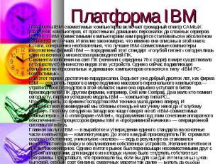 Платформа IBM-совместимых компьютеров включает громадный спектр САМЫХ различных