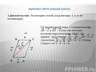 ПЕРЕМЕСТИТЕЛЬНЫЙ ЗАКОН.1.Доказательство: Рассмотрим случай ,когда векторы а и в
