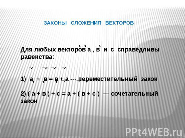 ЗАКОНЫ СЛОЖЕНИЯ ВЕКТОРОВ Для любых векторов а , в и с справедливы равенства:1) а + в = в + а --- переместительный закон2) ( а + в ) + с = а + ( в + с ) --- сочетательный закон