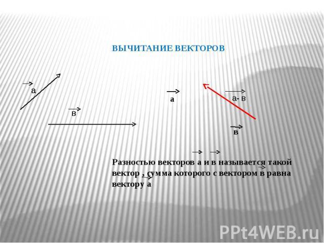 ВЫЧИТАНИЕ ВЕКТОРОВ Разностью векторов а и в называется такой вектор , сумма которого с вектором в равна вектору а
