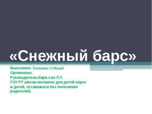 Снежный барс Выполнил: Хомушку СубудайОрланович.Руководитель:Кара-сал Л.Т.ГОУ РТ