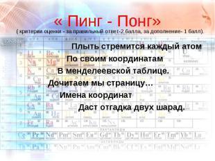 « Пинг - Понг» Плыть стремится каждый атом По своим координатам В менделеевской