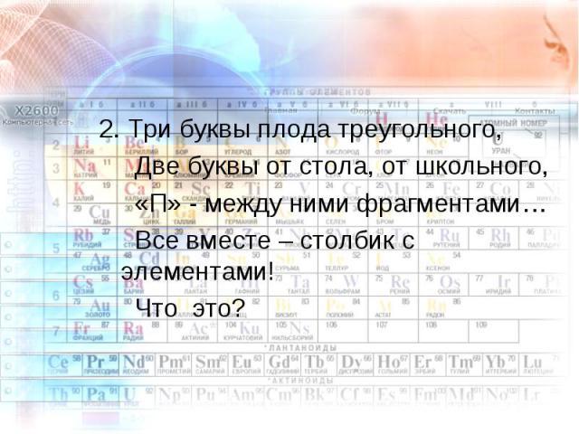 2. Три буквы плода треугольного, Две буквы от стола, от школьного, «П» - между ними фрагментами… Все вместе – столбик с элементами! Что это?