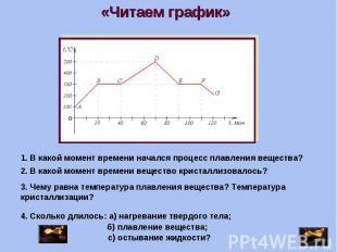 «Читаем график» 1. В какой момент времени начался процесс плавления вещества?2.