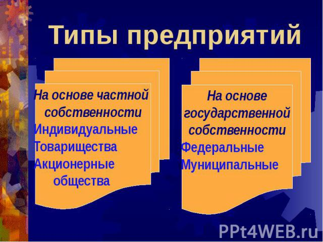 Типы предприятий На основе частной собственностиИндивидуальныеТовариществаАкционерные общества На основе государственной собственностиФедеральныеМуниципальные