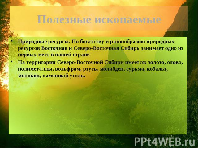Полезные ископаемые Природные ресурсы. По богатству и разнообразию природных ресурсов Восточная и Северо-Восточная Сибирь занимает одно из первых мест в нашей странеНа территории Северо-Восточной Сибири имеется: золото, олово, полиметаллы, вольфрам,…