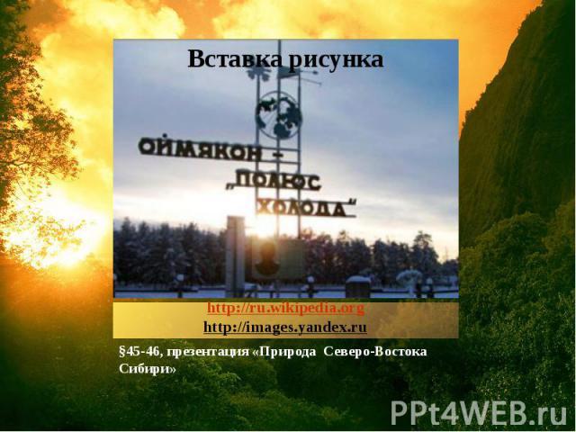 http://ru.wikipedia.orghttp://images.yandex.ru §45-46, презентация «Природа Северо-Востока Сибири»