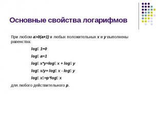 Основные свойства логарифмов При любом a>0(a≠1) и любых положительных x и y выпо