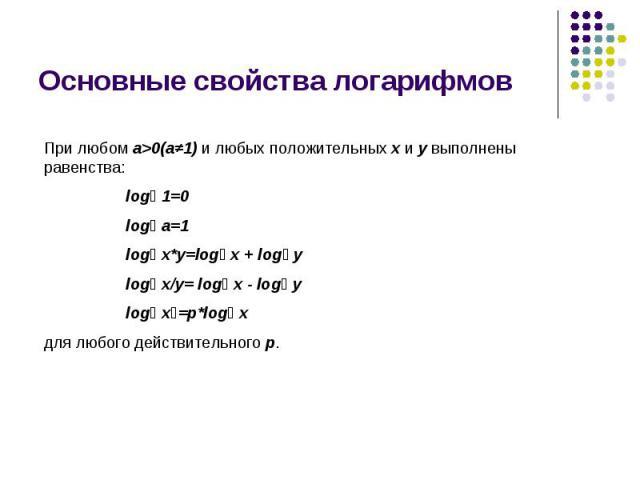 Основные свойства логарифмов При любом a>0(a≠1) и любых положительных x и y выполнены равенства: logₐ 1=0 logₐ a=1 logₐ x*y=logₐ x + logₐ y logₐ x/y= logₐ x - logₐ y logₐ xᵖ=p*logₐ xдля любого действительного p.