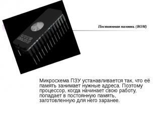 Микросхема ПЗУ устанавливается так, что её память занимает нужные адреса. Поэтом