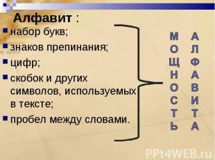 набор букв;знаков препинания;цифр;скобок и других символов, используемых в текст