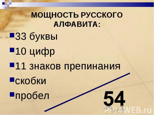 МОЩНОСТЬ РУССКОГО АЛФАВИТА: 33 буквы10 цифр11 знаков препинанияскобкипробел