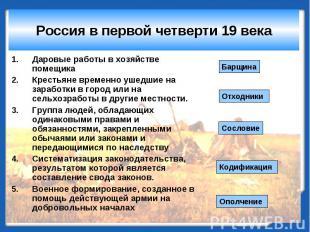 Россия в первой четверти 19 века Даровые работы в хозяйстве помещикаКрестьяне вр