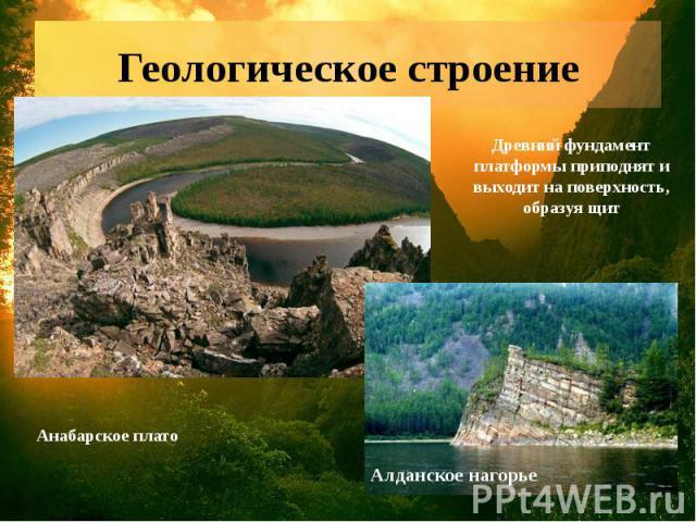 Геологическое строение Древний фундамент платформы приподнят и выходит на поверхность, образуя щит Анабарское плато Алданское нагорье
