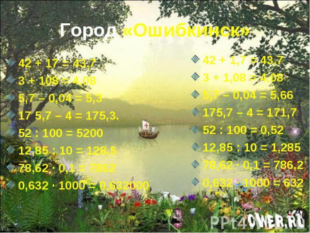 Город «Ошибкинск» 42 + 17 = 43,73 + 108 = 4,085,7 – 0,04 = 5,3 17 5,7 – 4 = 175,3.52 : 100 = 520012,85 : 10 = 128,578,62 · 0,1 = 78620,632 · 1000 = 0,632000 42 + 1,7 = 43,73 + 1,08 = 4,085,7 – 0,04 = 5,66 175,7 – 4 = 171,752 : 100 = 0,5212,85 : 10 =…