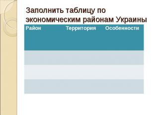 Заполнить таблицу по экономическим районам Украины