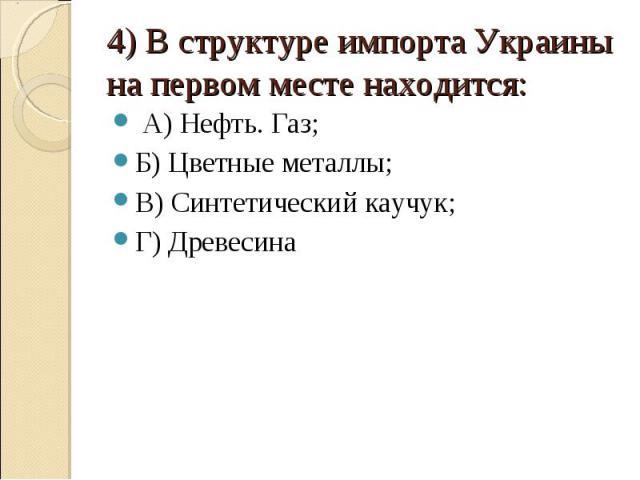 4) В структуре импорта Украины на первом месте находится: А) Нефть. Газ;Б) Цветные металлы;В) Синтетический каучук;Г) Древесина