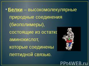 Белки – высокомолекулярные природные соединения (биополимеры), состоящие из оста