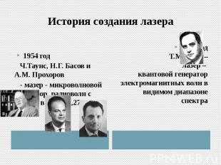 История создания лазера 1954 год Ч.Таунс, Н.Г. Басов и А.М. Прохоров  - мазер -