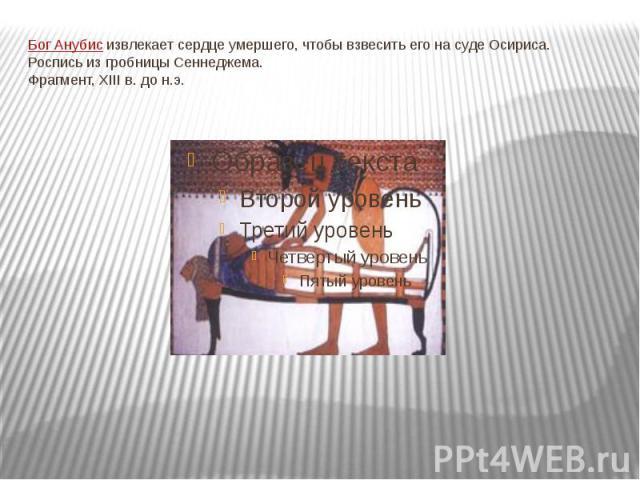 Бог Анубис извлекает сердце умершего, чтобы взвесить его на суде Осириса.Роспись из гробницы Сеннеджема.Фрагмент, XIII в. до н.э.