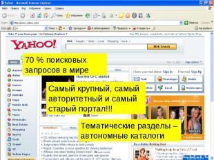 70 % поисковых запросов в мире Самый крупный, самый авторитетный и самый старый