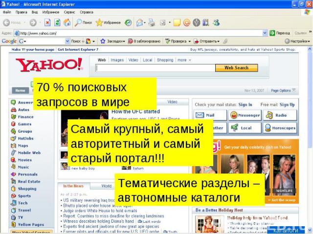 70 % поисковых запросов в мире Самый крупный, самый авторитетный и самый старый портал!!! Тематические разделы – автономные каталоги