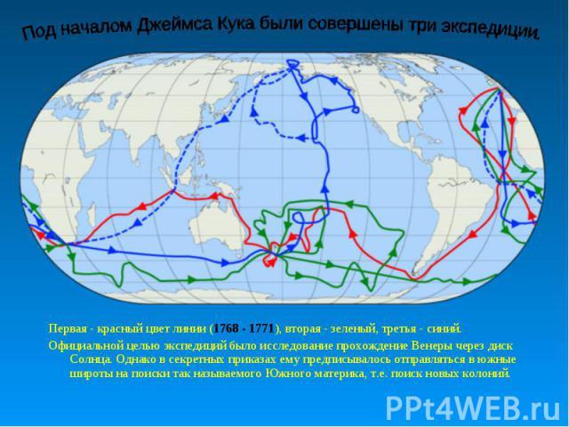 Под началом Джеймса Кука были совершены три экспедиции. Первая - красный цвет линии (1768 - 1771), вторая - зеленый, третья - синий.Официальной целью экспедиций было исследование прохождение Венеры через диск Солнца. Однако в секретных приказах ему …