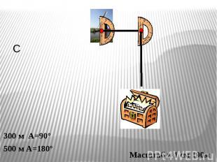 300 м А=90°500 м А=180° Масштаб в 1 см 100м