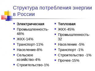Структура потребления энергии в России ЭлектрическаяПромышленность-48%ЖКХ-14%Тра