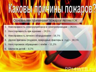 Каковы причины пожаров? Основными причинами пожаров являются: Неисправность элек