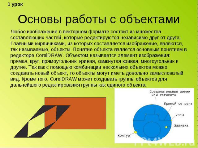 Основы работы с объектами Любое изображение в векторном формате состоит из множества составляющих частей, которые редактируются независимо друг от друга. Главными кирпичиками, из которых составляется изображение, являются, так называемые, объекты. П…