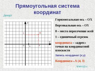 Прямоугольная система координат Горизонтальная ось – ОХВертикальная ось – ОY0 –